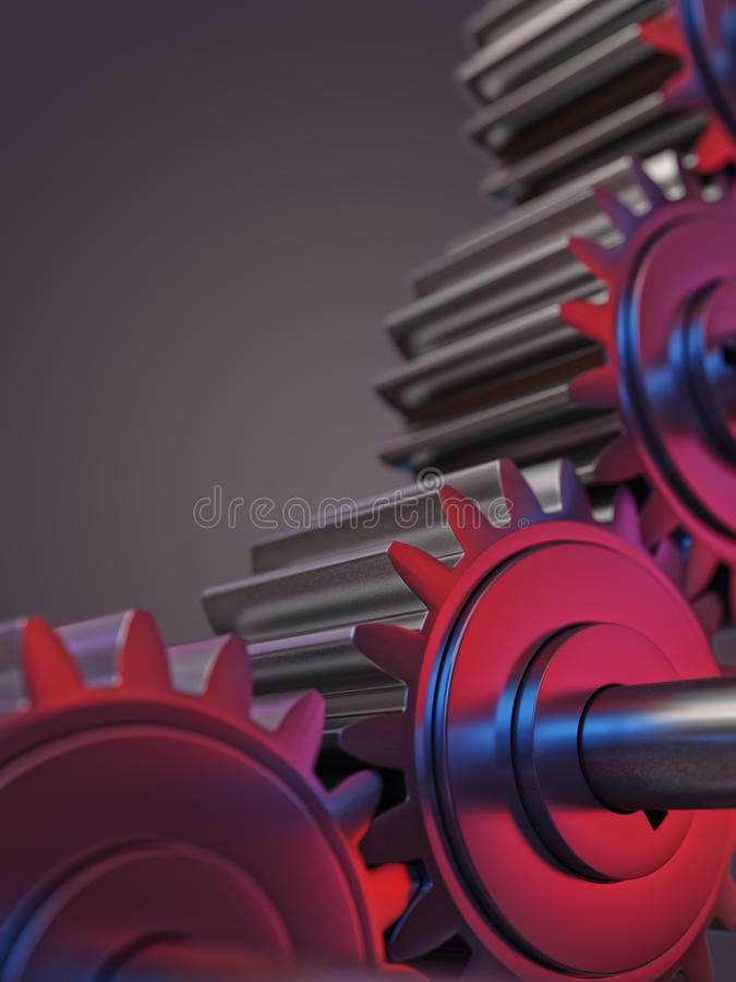 Engranajes con el ejemplo rojo y azul del concepto 3d del trabajo en equipo de las reflexiones fotografía de archivo libre de regalías