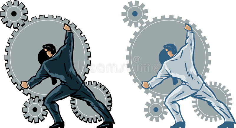 Engranajes de funcionamiento del hombre de negocios. libre illustration