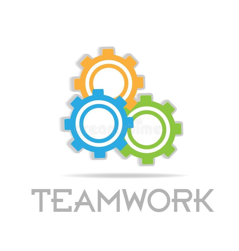 Engranajes de funcionamiento del trabajo en equipo, icono del vector de la comunidad stock de ilustración