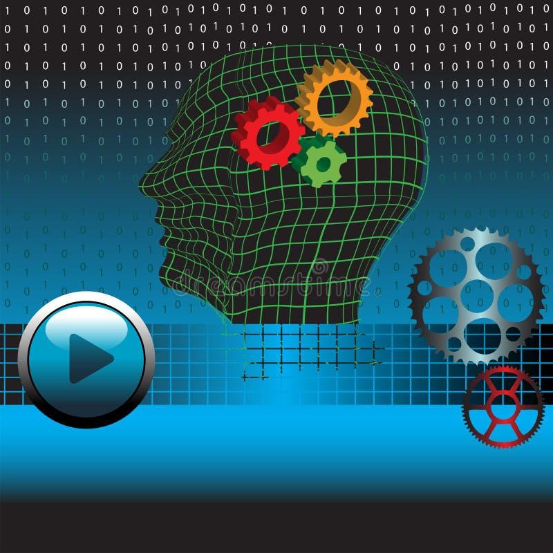 Engranajes de la mente humana ilustración del vector