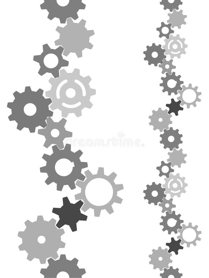 Engranajes de la tecnología de la industria que embaldosan verticalmente la frontera stock de ilustración