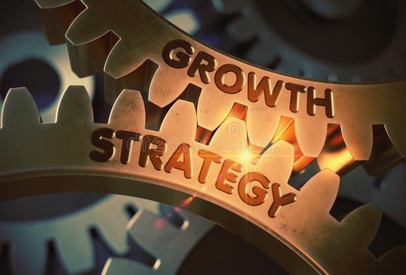 Engranajes de oro con concepto de la estrategia del crecimiento ilustración 3D stock de ilustración