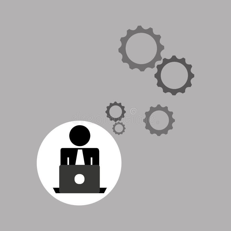 Engranajes de trabajo del ordenador portátil del programador de la silueta ilustración del vector