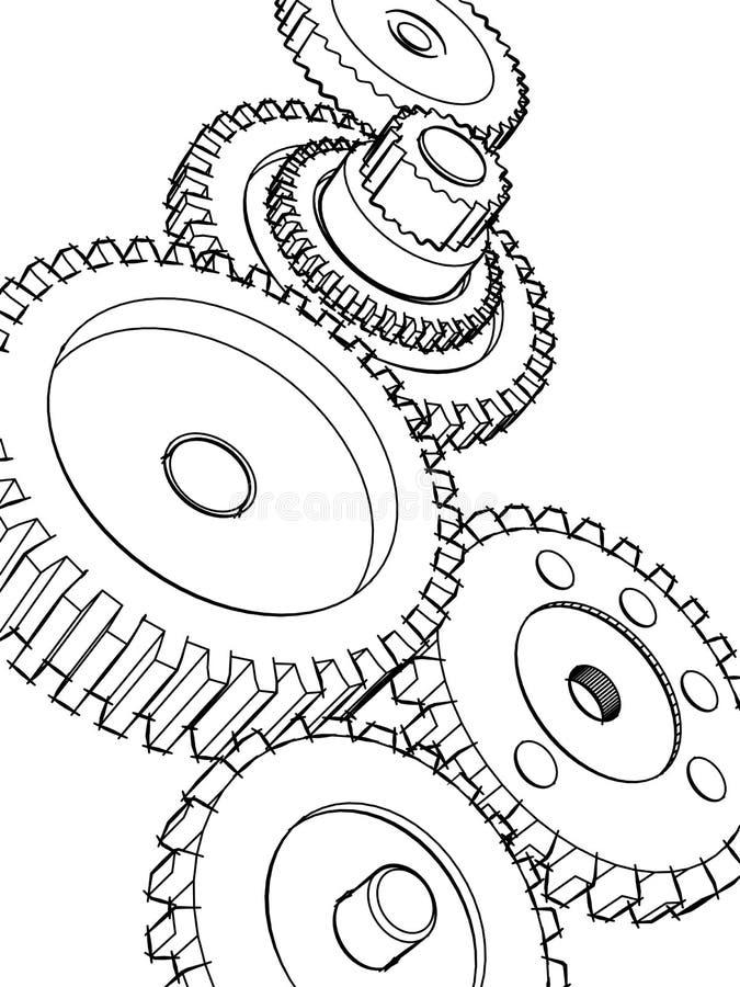 Engranajes del bosquejo ilustración del vector