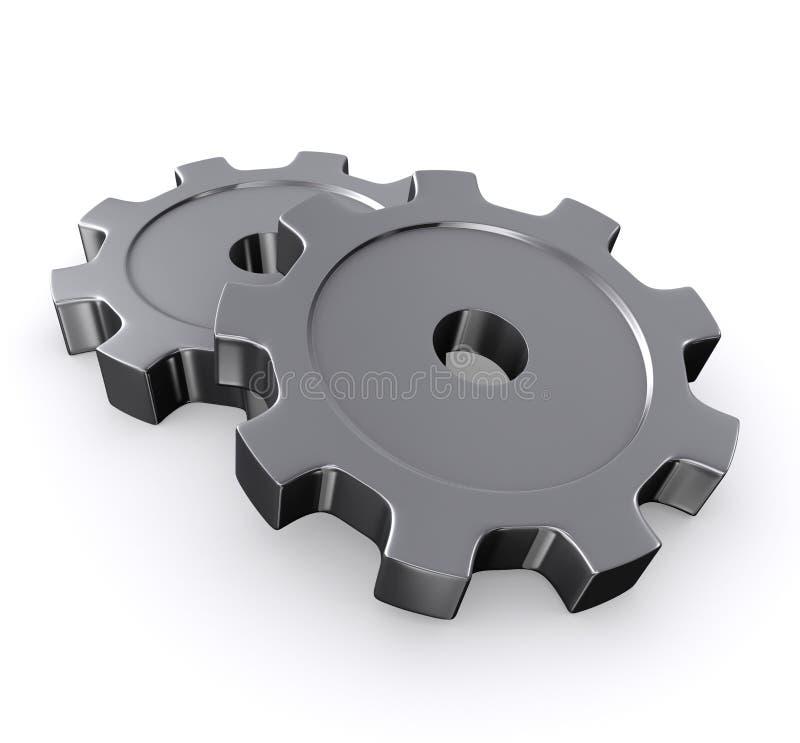 engranajes del metal 3D ilustración del vector