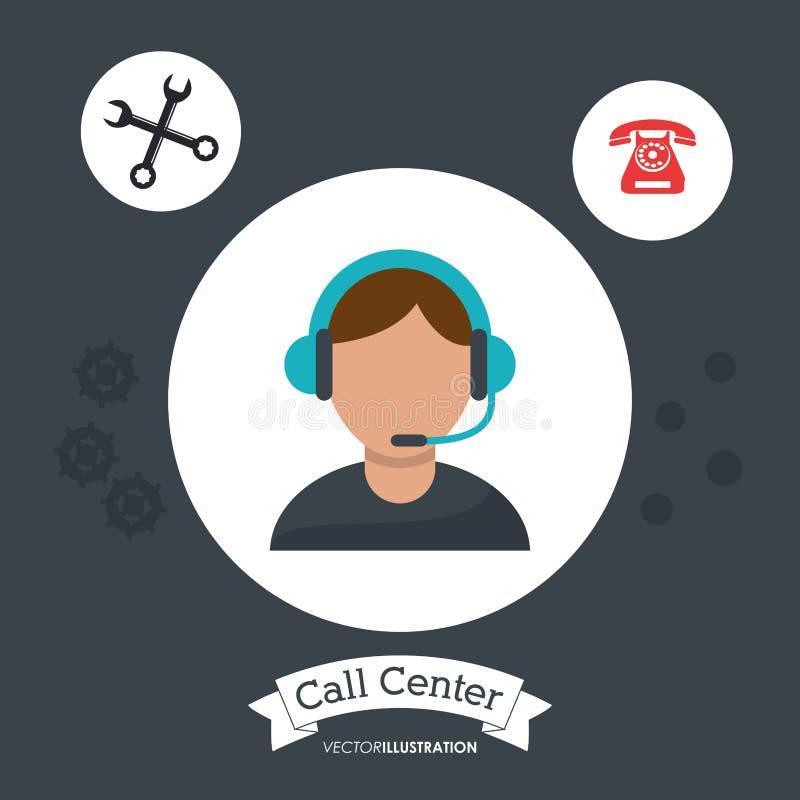 engranajes del servicio de ayuda de la ayuda del operador del hombre del centro de atención telefónica stock de ilustración