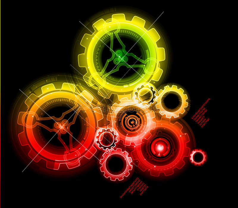 Engranajes del techno que brillan intensamente libre illustration