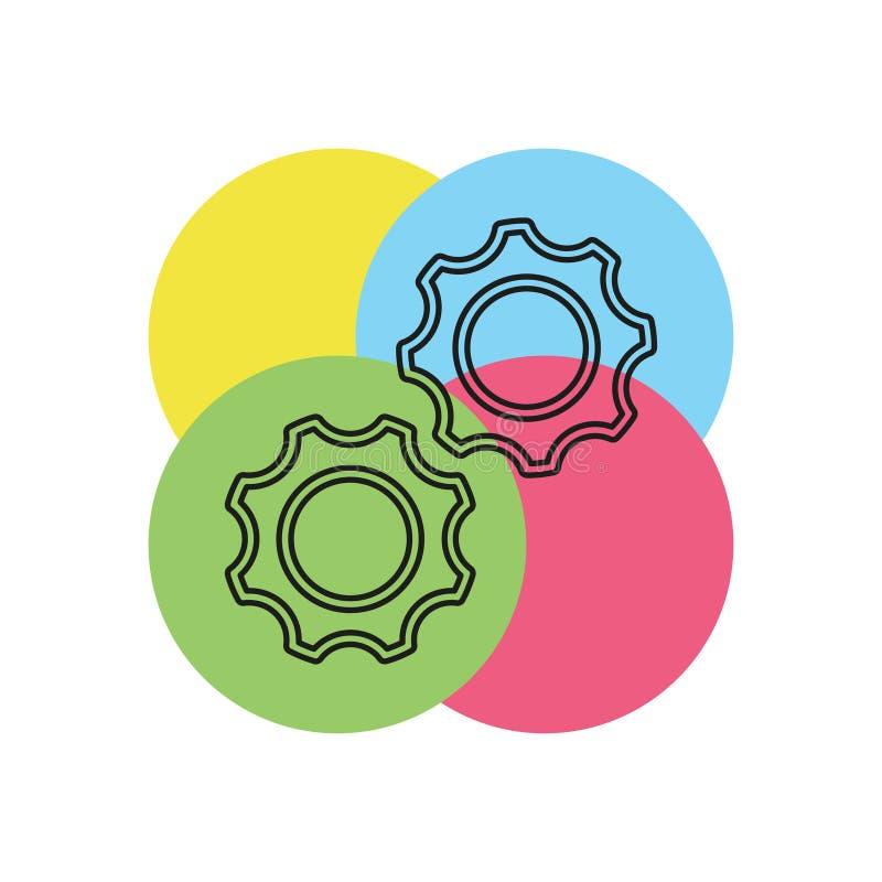 Engranajes del vector - icono de los dientes - símbolo de los ajustes stock de ilustración