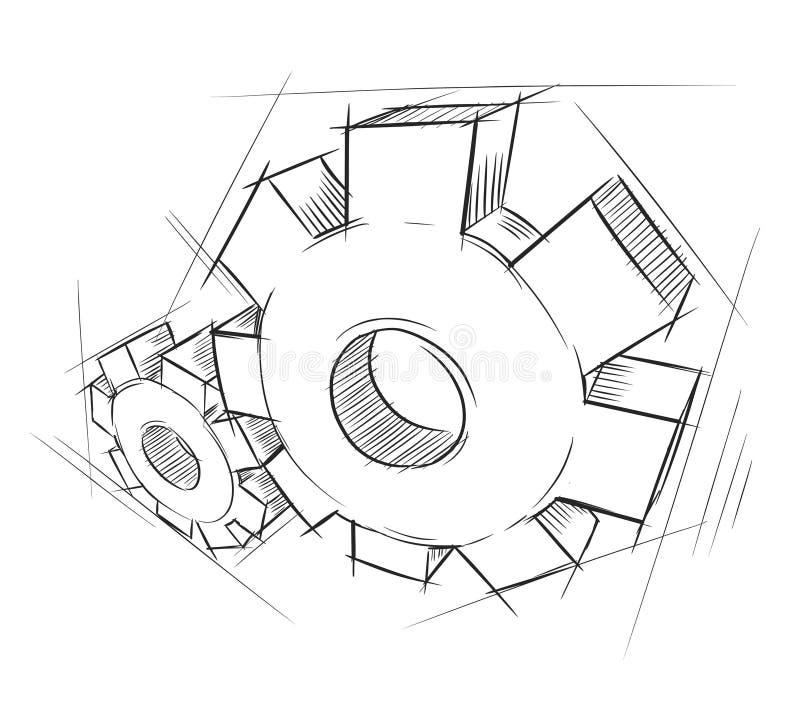 Engranajes drenados mano ilustración del vector