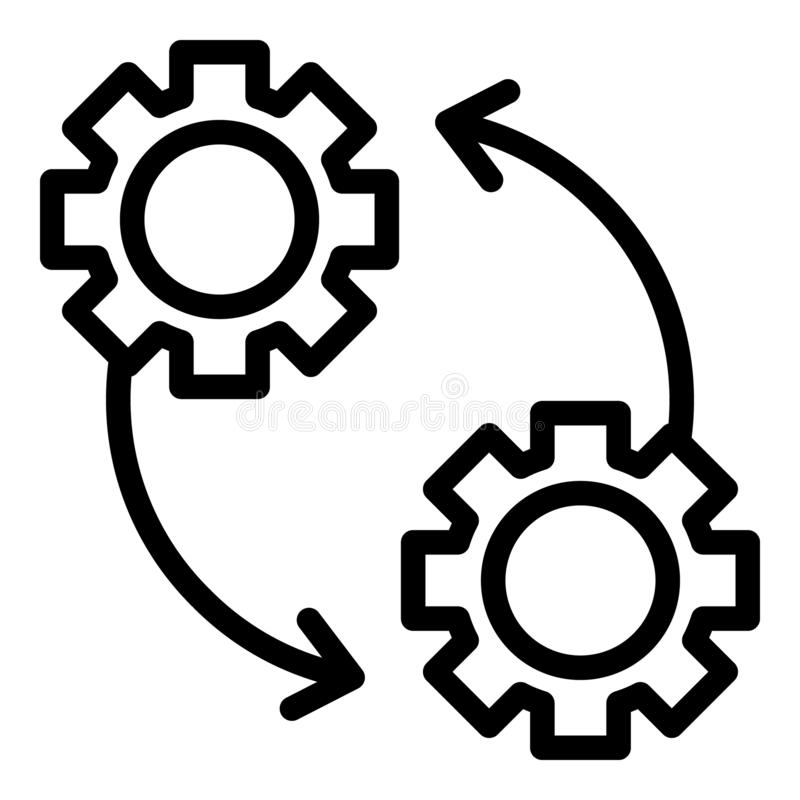 Engranajes e icono de las flechas, estilo del esquema ilustración del vector