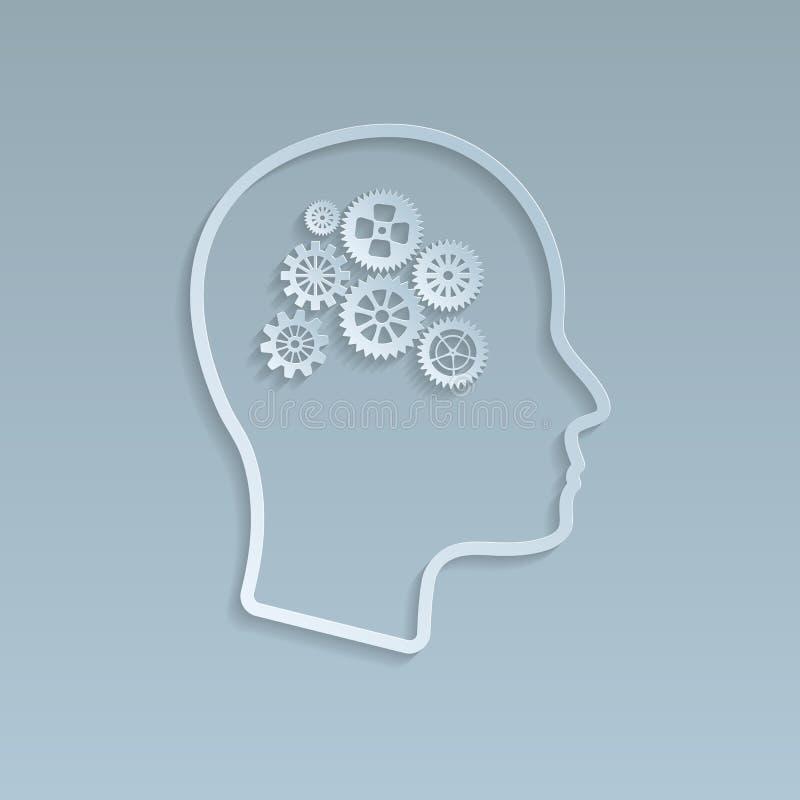 Engranajes en el cerebro, ejemplo del vector ilustración del vector