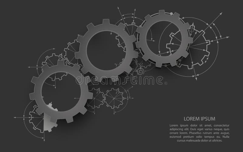 Engranajes en el compromiso Fondo industrial del extracto del dibujo de ingeniería con ruedas dentadas ilustración del vector