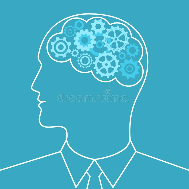 Engranajes en hombre del cerebro Concepto del asunto stock de ilustración