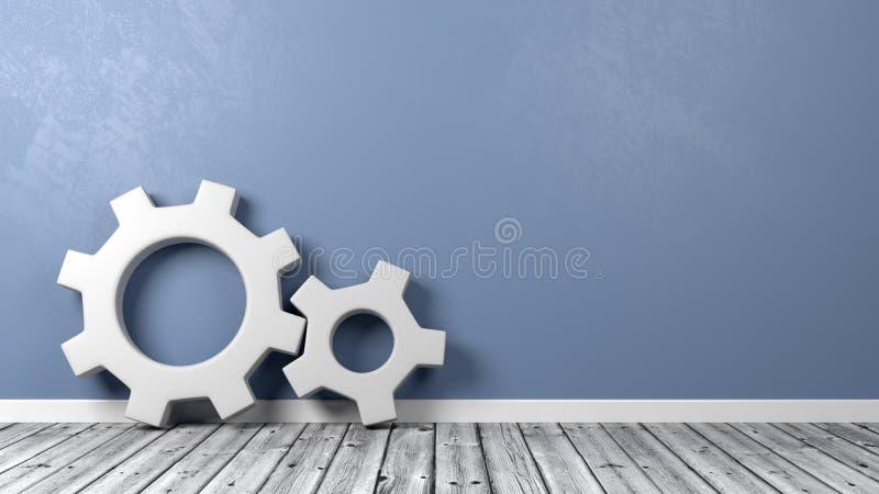 Engranajes en piso contra las paredes azules libre illustration