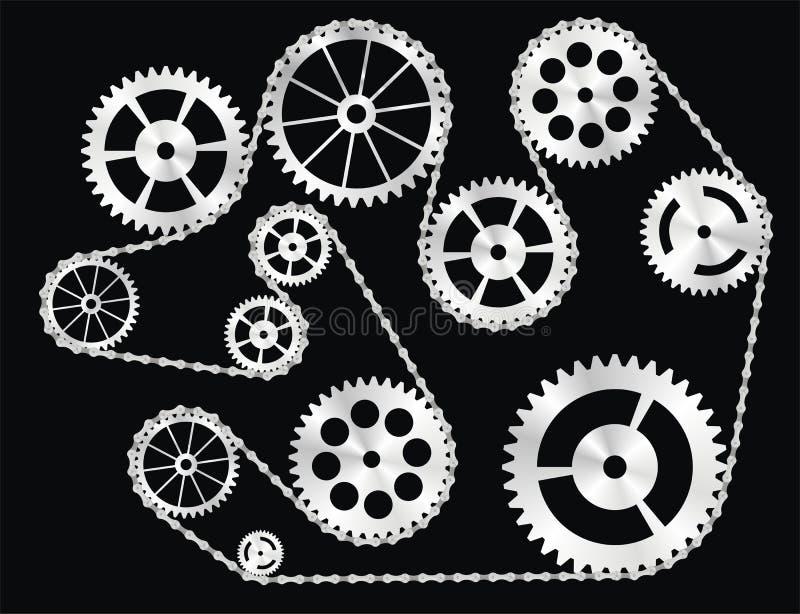 Engranajes envueltos por un encadenamiento stock de ilustración