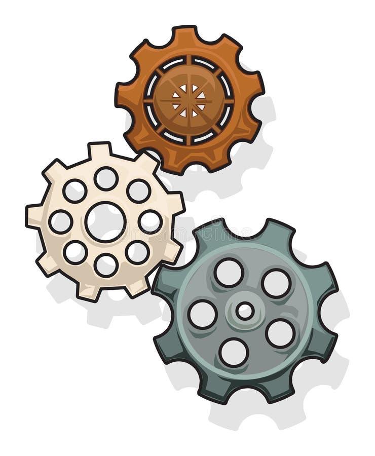 Engranajes fijados stock de ilustración