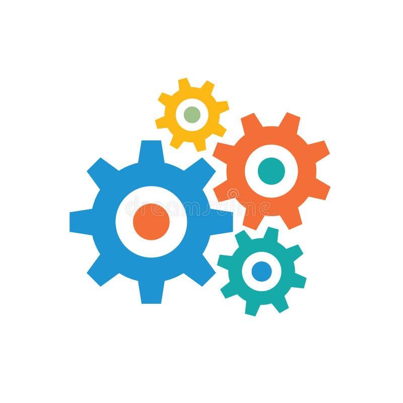 Engranajes - icono coloreado en el ejemplo blanco del vector del fondo para la página web, aplicación móvil, presentación, infogr ilustración del vector