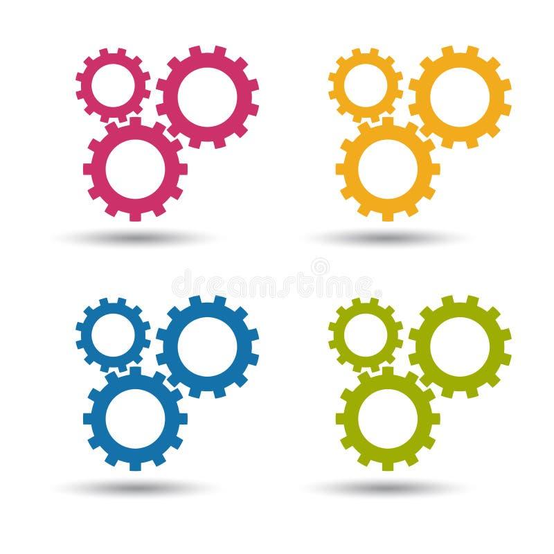 Engranajes - iconos coloridos del vector - aislados en blanco stock de ilustración