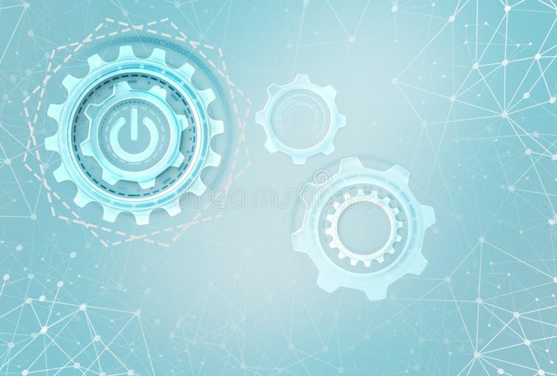 Engranajes industriales sobre fondo futurista stock de ilustración