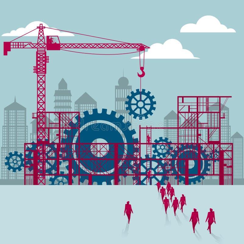 Engranajes mecánicos bajo construcción ilustración del vector