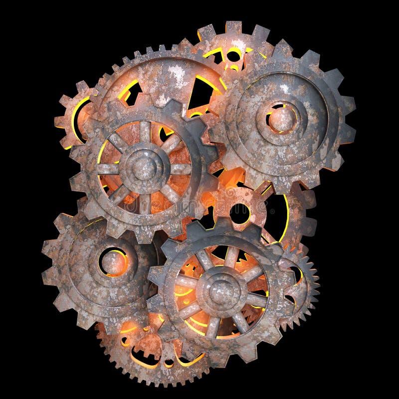 Engranajes mecánicos del metal oxidado. stock de ilustración