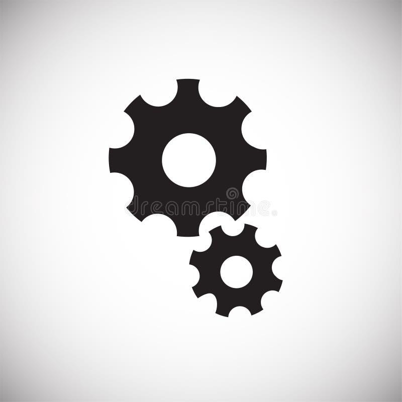 Engranajes mecánicos en el fondo blanco stock de ilustración