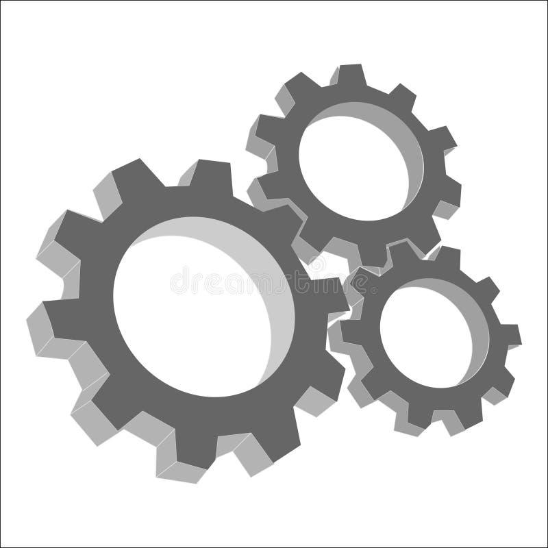 Engranajes, mecanismo, exactitud, vector abstracto, nheadline stock de ilustración