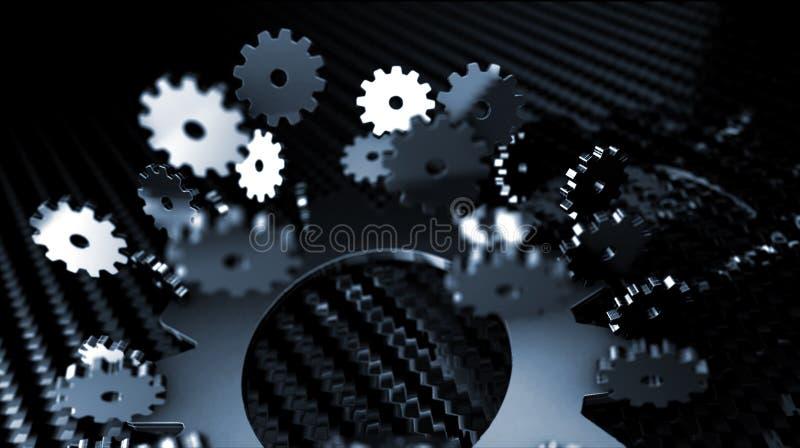 engranajes metálicos que vuelan alrededor - el foco ilustración del vector