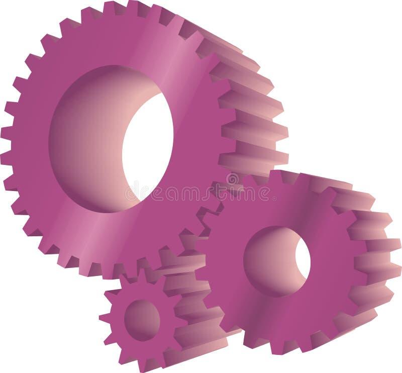 Engranajes púrpuras ilustración del vector