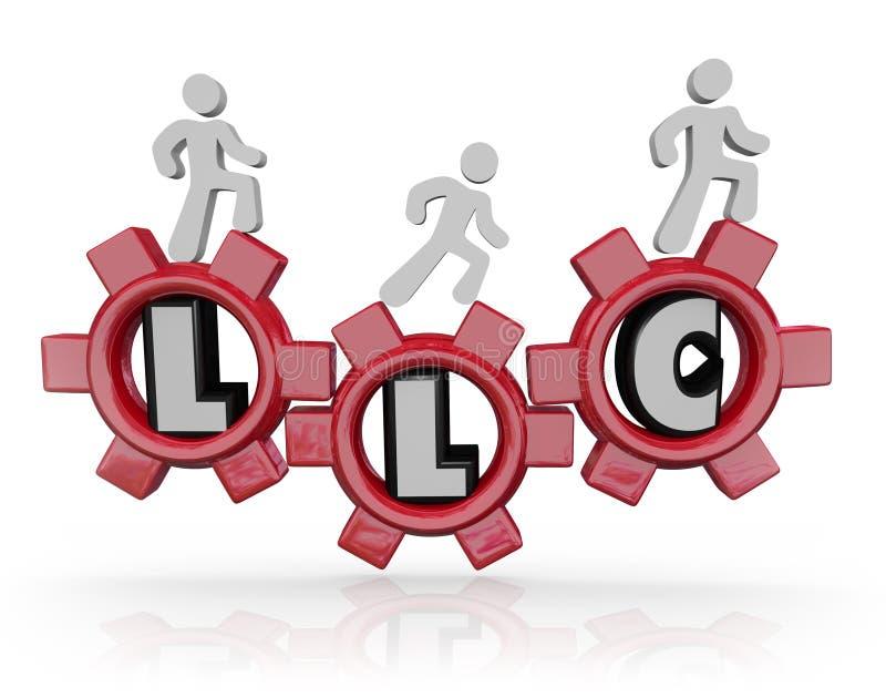 Engranajes que caminan de la gente de las siglas de LLC Limited Liability Corporation libre illustration