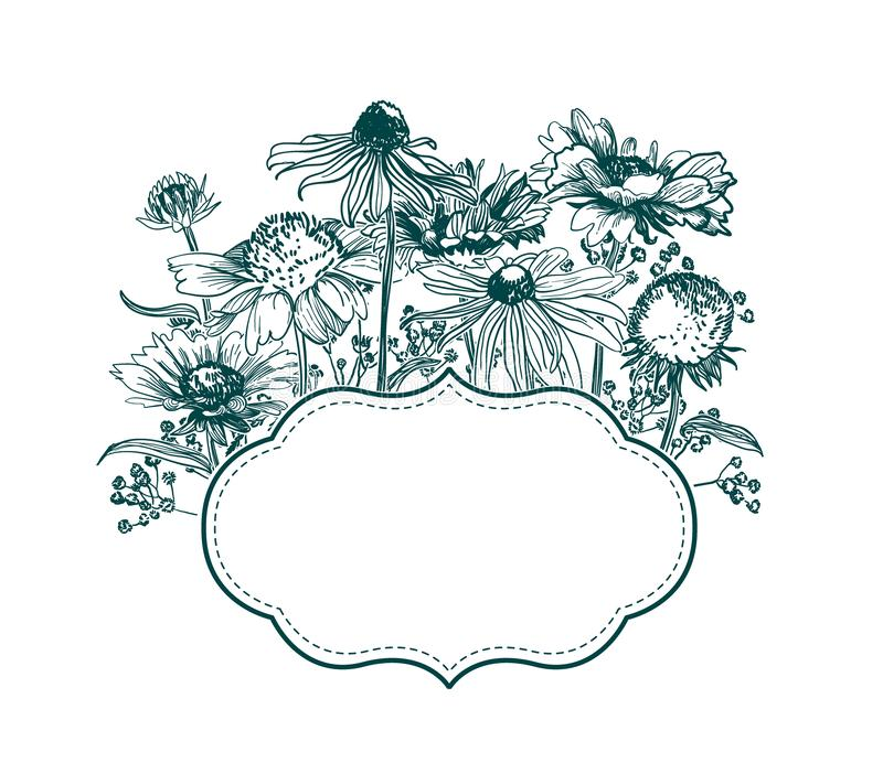 Engrave flowers vector frame sketch meadow design vector illustration