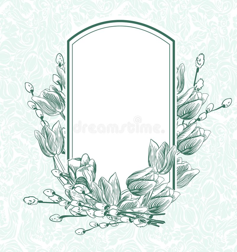 Engrave flowers vector frame tulips monichrome pattern vector illustration