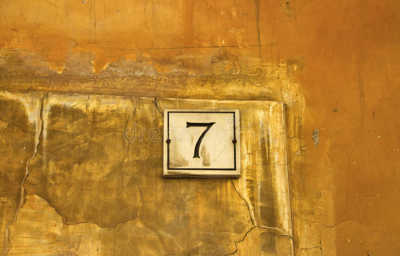 Engraved building number 7 stock photo. Image of italy - 82215600