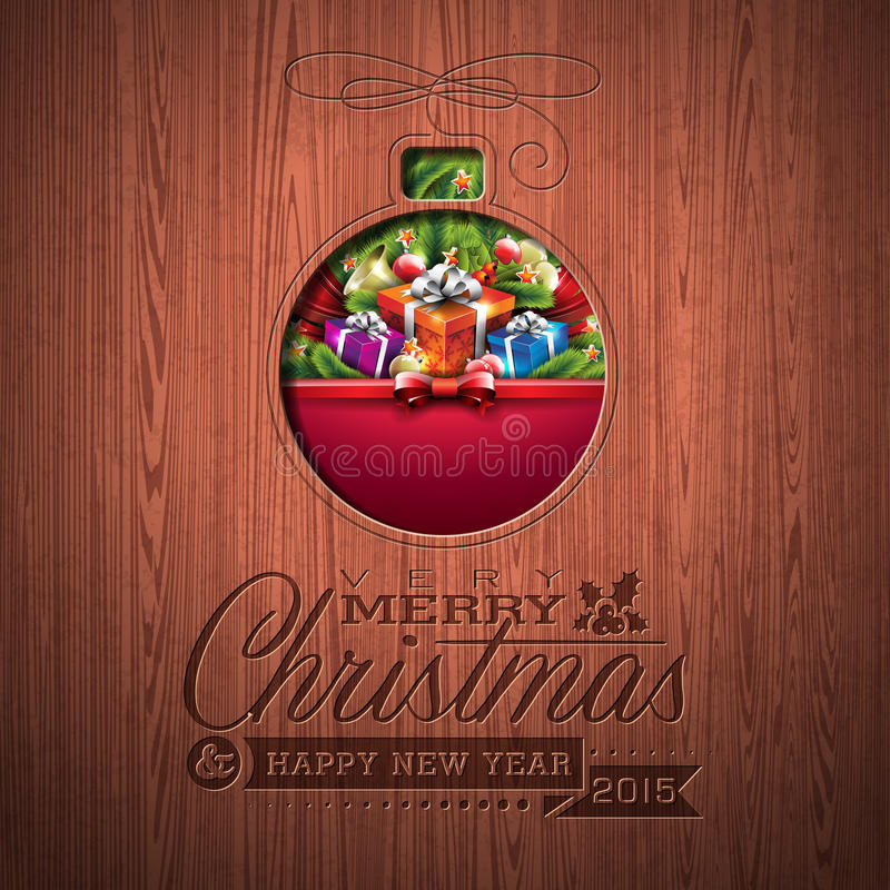 Engraved Merry Christmas and Happy New Year typographic design with holiday elements on wood texture background. stock illustration