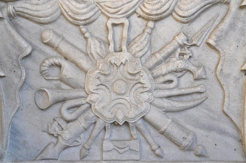 Engraved Ottoman Empire coat of arms on marble royalty free stock photo