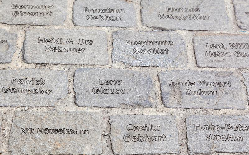 Engraved paving stones royalty free stock photo