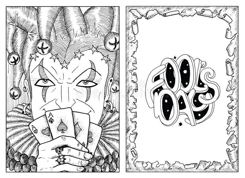 Engraved portrait of Joker and paper border royalty free illustration
