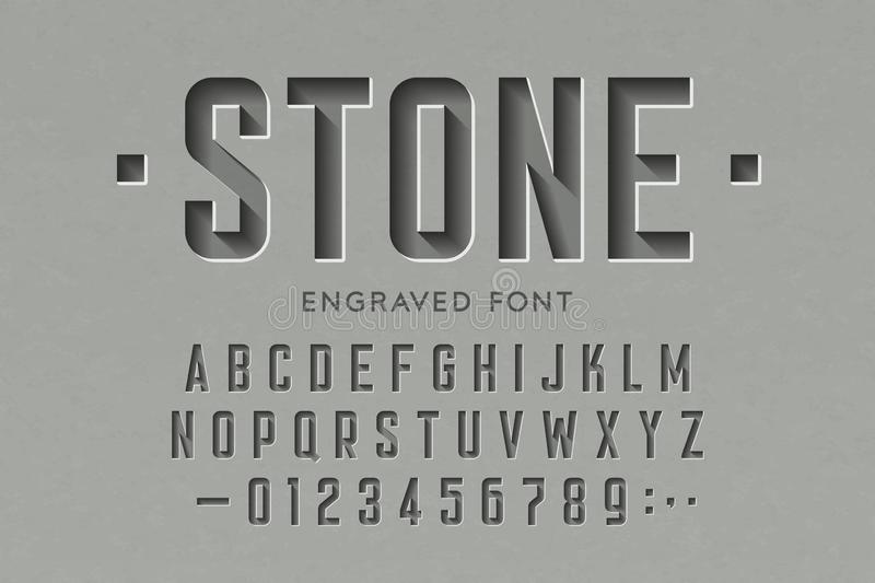 Engraved on stone font. Alphabet letters and numbers royalty free illustration