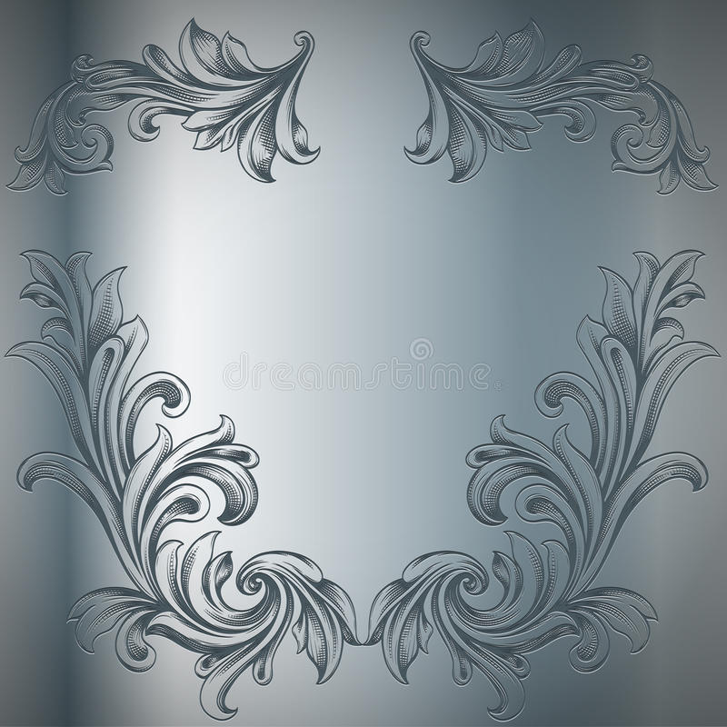 Engraving. Abstract engraving decorative ornament on metal plate royalty free illustration
