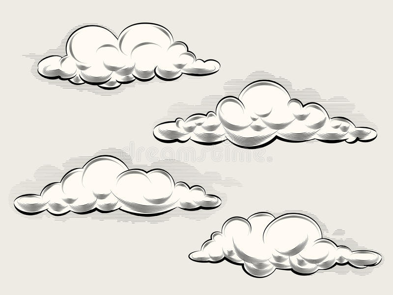 Engraving clouds. Vintage elements for art and design. Vector illustration stock illustration