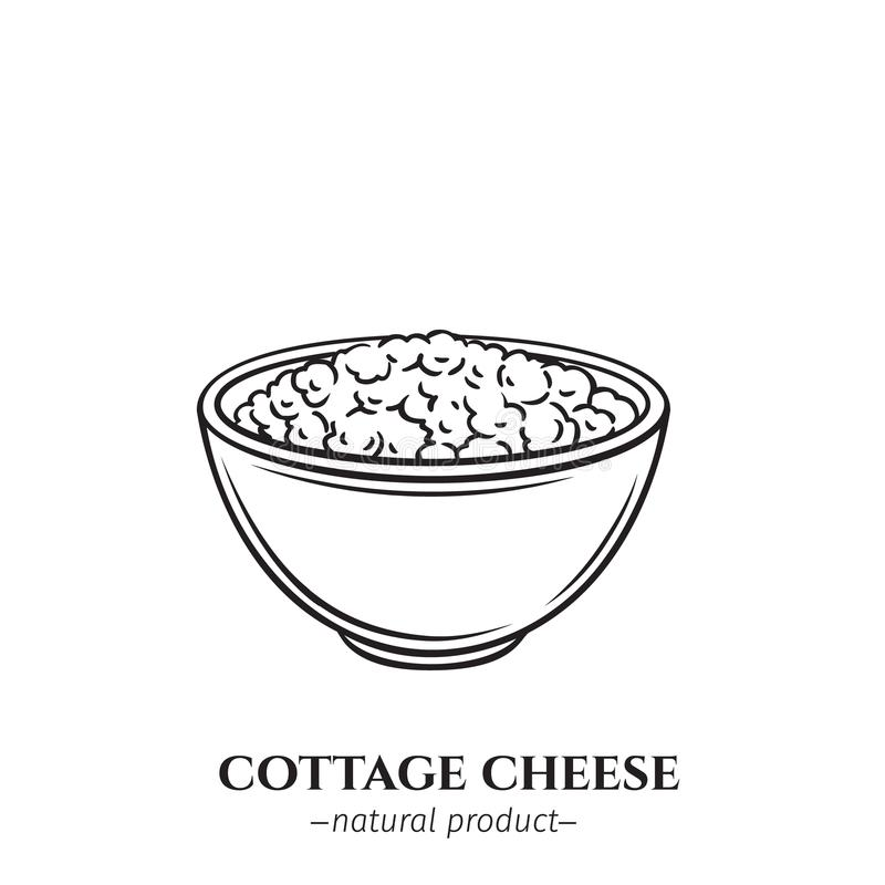 Engraving cottage cheese icon. Vector engraving cottage cheese icon. Dairy product illustration for design menu and market. Retro style vector illustration
