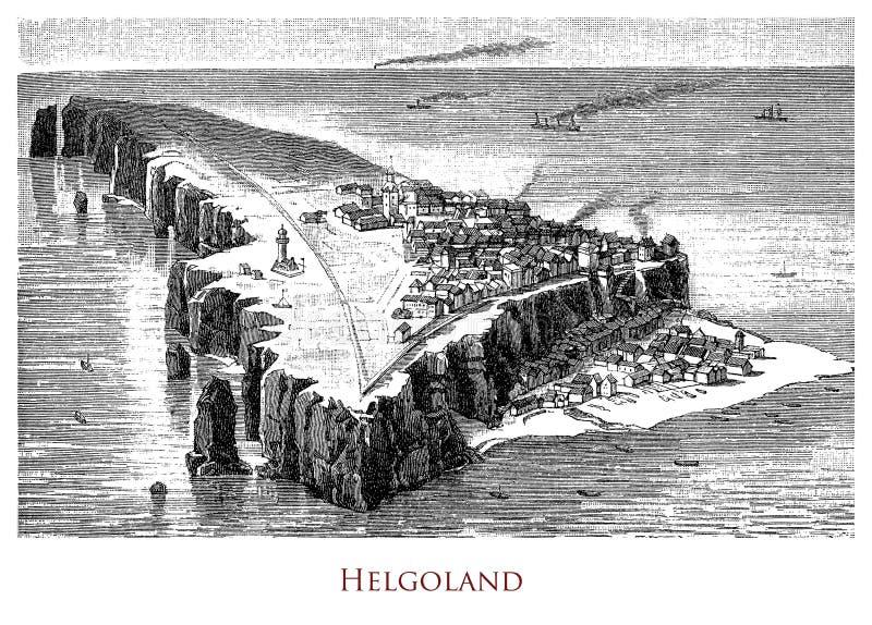 Vintage geographical image, Heligoland Island royalty free stock photography