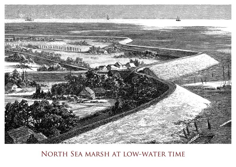 Vintage geographical image, North Sea marsh royalty free stock photography