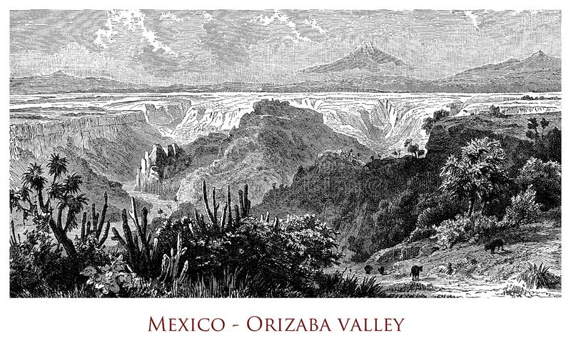 Vintage geographical image, Orizaba Valley royalty free stock photos
