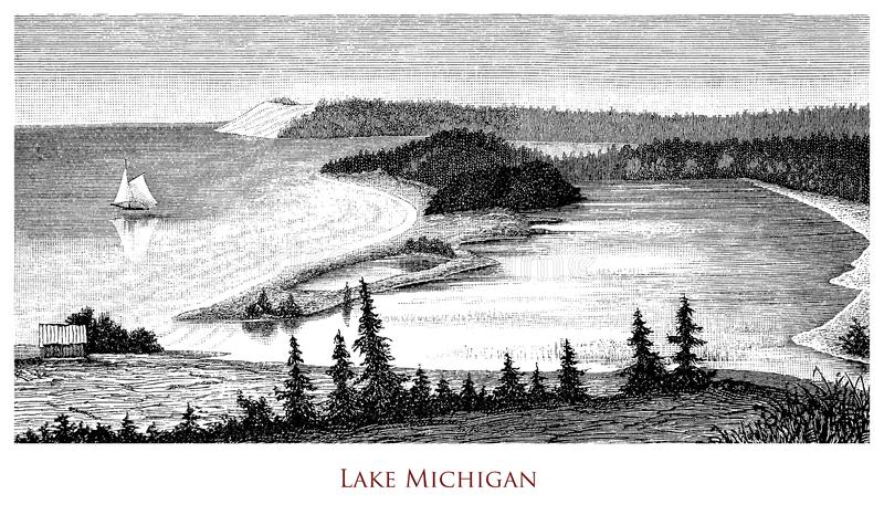 Vintage geographical image, Lake Michigan stock photography