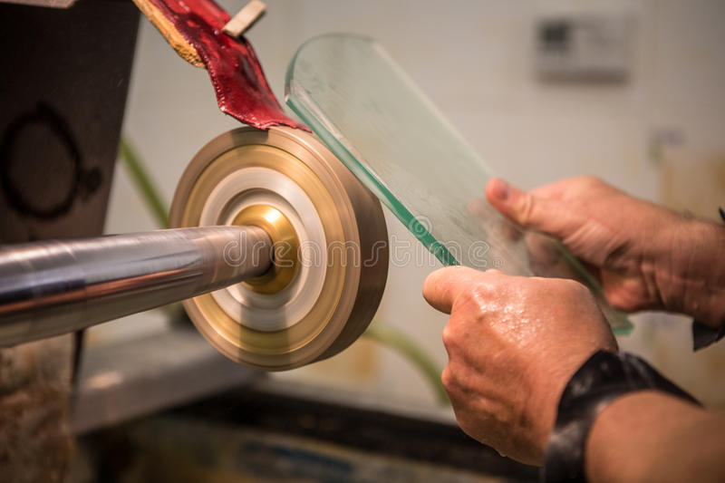 Engraving of glass. In the factory royalty free stock photo