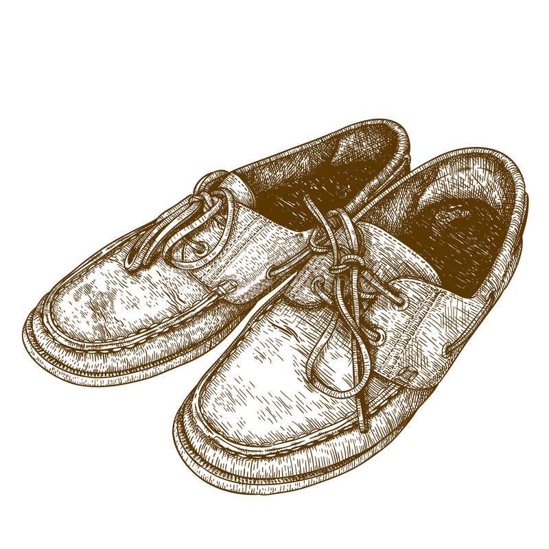 Engraving illustration of old shoes. Vector engraving antique illustration of old shoes isolated on white background vector illustration