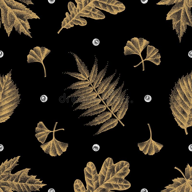 Engraving Leaves Seamless Pattern Vector Illustration. Vector illustration of Engraving Leaves Seamless Pattern. Eps10, Ai10 stock illustration