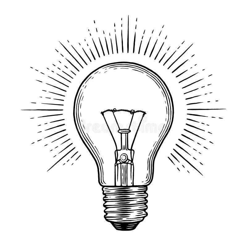 Engraving light bulb stock illustration