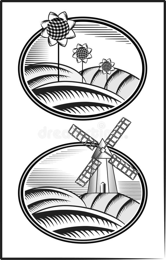 Engraving. The mill and the field A. Engraving depicts a field with sunflowers and of wind mill stock illustration